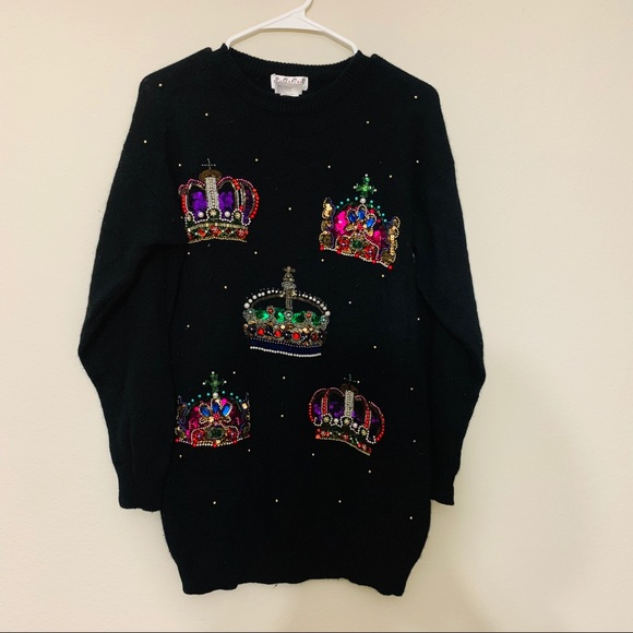 Vintage Sweaters - SGCS by Sacha|Vintage Sequined Crown Black Sweater